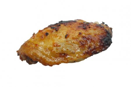 One grilled chicken wing isolated on white background