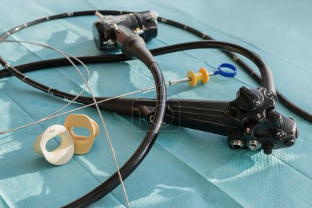 Photo for The endoscope, the mouthpiece and the biopsy forceps - Royalty Free Image