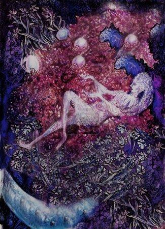 Photo pour Dessin décoratif détaillé de la fée lilas couché au milieu des fleurs . - image libre de droit