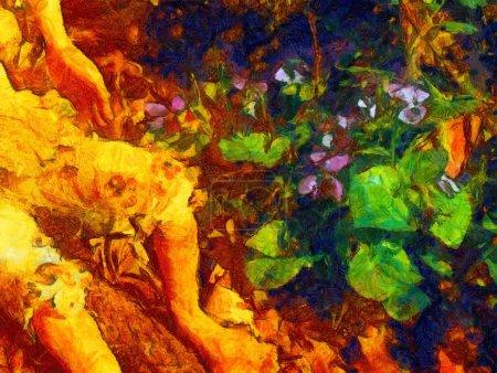 Photo pour Détail de pieds nains ensoleillés et fleurs de lila . - image libre de droit