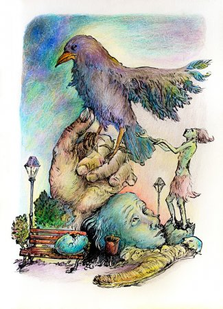 Surrealistic illustration of a hatching shaman trying to please a giant park bird, detailed intricate colorful drawing, outlined