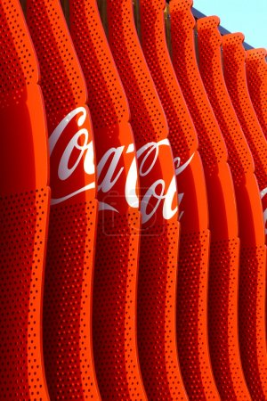 Photo for MILAN,ITALIA - 13, MAY 2015: Detail of the external wall of Coca Cola stand in Expo 2015 - Royalty Free Image