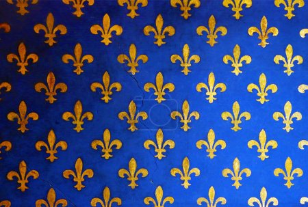 Blue wall with golden fleur de Lis