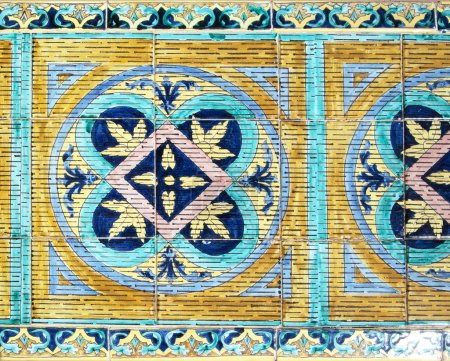 Richly painted azulejos on wall