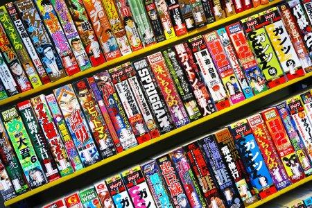 Rows of colorful manga books