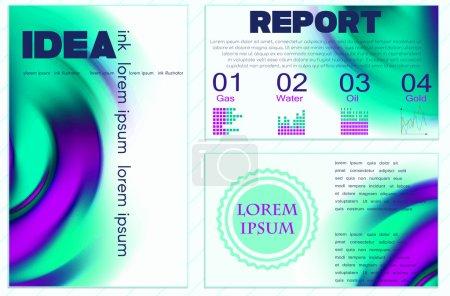 Illustration pour Ensemble de modèles d'affiches vectorielles avec éclaboussure de peinture aquarelle. Abstract Background for Business Flyers, Posters and Placards. Mobile Technologies Concept. Icônes Web et infographiques de style plat - image libre de droit