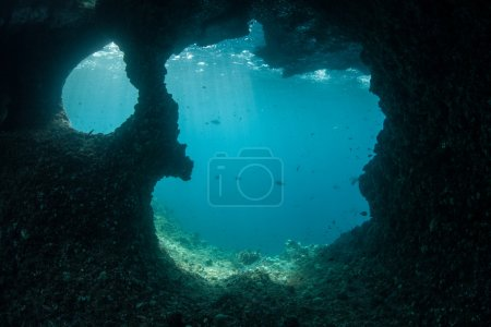 An underwater cave exists in a limestone island
