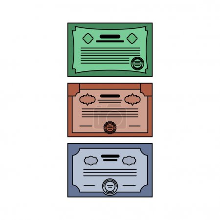 Set of Securities icons: stocks, bonds, certificates. Color vector illustration of a flat style with an outline.