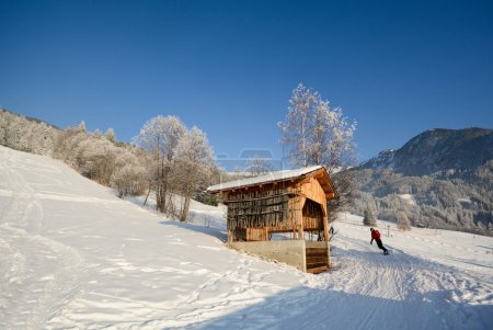 Winter landscape with firewood in front of an old ...
