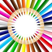 Duha barevné tužky, oděna v kruhu