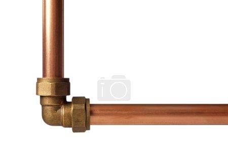 Copper pipe on white