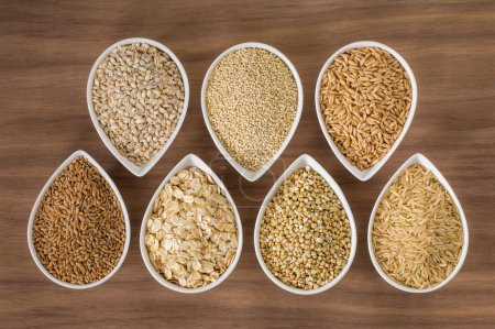 An assortment of whole grains in bowls
