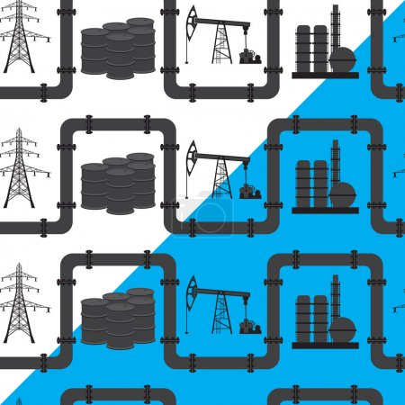 Oil, gas and electric power industry. Seamless pattern backgroun