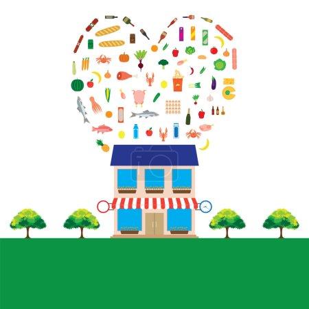 Illustration pour Épicerie avec une grande collection d'articles alimentaires. Eléments pour le design. Illustration vectorielle . - image libre de droit