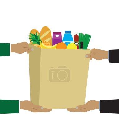 Illustration pour Concept d'illustration vectorielle colorée pour la livraison d'épicerie . - image libre de droit