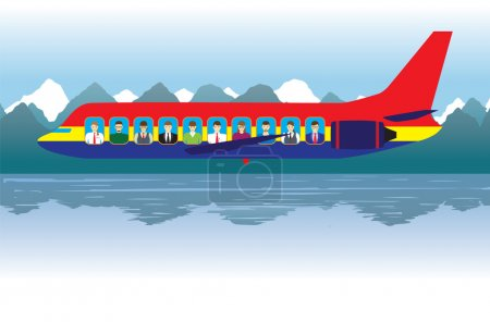 Aircraft with passengers over the lake.