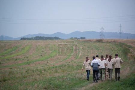 Photo pour Scouts tchèques lors d'une partie finalement de race Svojsik. Octobre 28,2015; Pribor en République tchèque - image libre de droit