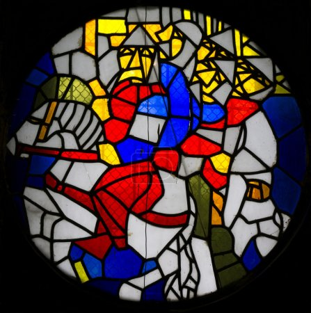 Stained glass window with image of knights