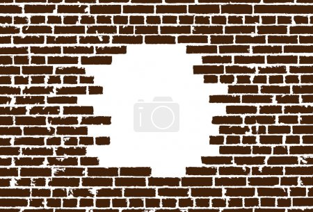 Broken realistic old brown brick wall concept on white background. Vector illustration