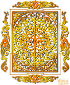 Gold ancient vintage ornament with shadow on white background Vector illustration