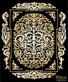 Gold ancient vintage ornament with shadow on black background Vector illustration