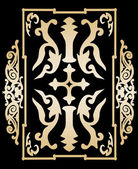 Gold ancient vintage ornament on black background in style of victorian shield with a cross Vector illustration