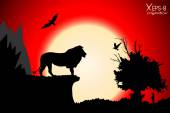 Red sunset in the jungle with mountains old tree birds lion and meerkat Vector background