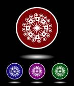 Vector icon logo set 3 in 1 with modern vintage white ancient sun sign on red blue violet and green background isolated on black highlighted