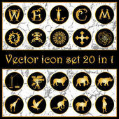 Set of vintage gold vector icon logo 20 in 1 with letters