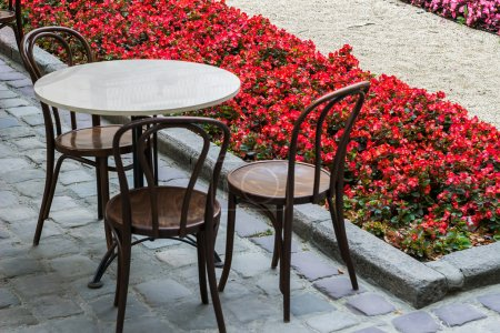 Table and chair in street near flower beds, Lviv city