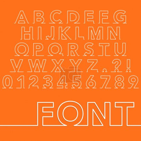 Vector illustration of a linear font