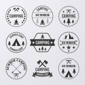 Vector illustration set of logos on the theme of camping