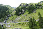 Photo of green peaks, a small river and a road in fagaras mountains, Romania.