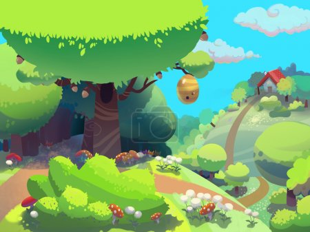 Photo pour Abeille arbre dans la forêt près de maison de grand-mère, dessiné dans le style cartoon. Digital fond raster illustration. - image libre de droit