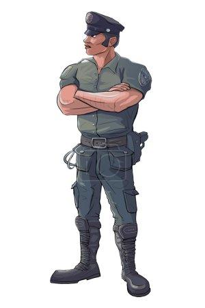 Photo pour Policier - policier Stand Guard - Raster isolé Illustration - image libre de droit