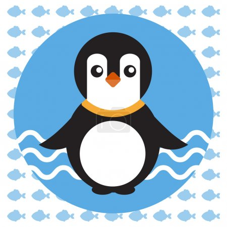 Illustration for Abstract illustration with a baby penguin on blue water with waves in a round blue frame, over an white background with fish. Digital vector image. - Royalty Free Image