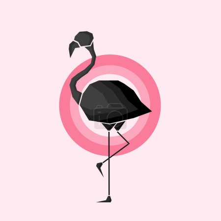 Geometric black flamingo in outlines in pink circles over a light pink background. Digital vector image.