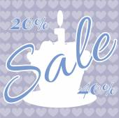 Card with a cream cake with burning candle on top over a purple background with hearts with sale text Digital vector image