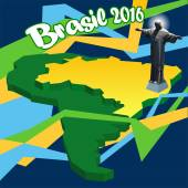 Brasil 2016 country map in 3d and statue of Jesus Digital vector image