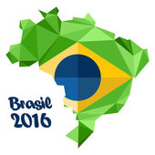 Abstract Brasil 2016 logo with national flag on country map over white background Digital vector image