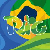 Abstract rio logo over Brasil national colors background Digital vector image