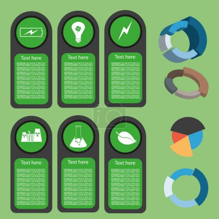 Ecological business green infographic with icons and 3d charts, flat design. Digital vector image