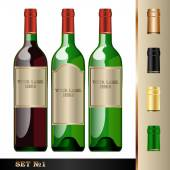Vector wine bottles mockup with your label here text Green bottle white and red wine Black silver golden caps