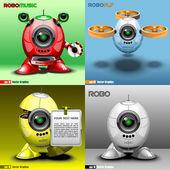 Digital vector robo set music fly red blue