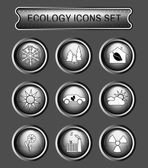 Ecology Icons Set on Gray Round Buttons Digital background vector logotypes set