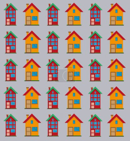 Illustration for Detailed flat houses on the light gray backdrop. Real estate infographics. Digital background vector pattern. - Royalty Free Image