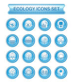 Ecology Icons Set on Blue Round Buttons Digital background vector logotypes set