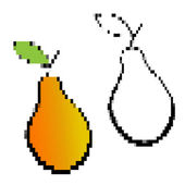 Pixelated yellow pears