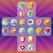 Healthcare round icons Medical vector icon set Digital background vector illustration