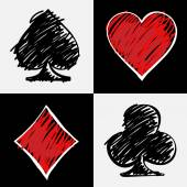 Four card suits isolated on black and white squares Cards deck hand drawing Digital background vector illustration